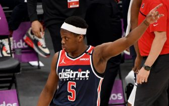 WASHINGTON, DC - APRIL 19: Cassius Winston #5 of the Washington Wizards reacts after a play against the Oklahoma City Thunder during the second half at Capital One Arena on April 19, 2021 in Washington, DC. NOTE TO USER: User expressly acknowledges and agrees that, by downloading and or using this photograph, User is consenting to the terms and conditions of the Getty Images License Agreement. (Photo by Will Newton/Getty Images)