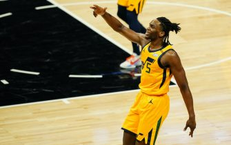 SACRAMENTO, CALIFORNIA - APRIL 28: Jarrell Brantley #5 of the Utah Jazz celebrates shooting a three during the game against the Sacramento Kings at Golden 1 Center on April 28, 2021 in Sacramento, California. NOTE TO USER: User expressly acknowledges and agrees that, by downloading and or using this photograph, User is consenting to the terms and conditions of the Getty Images License Agreement. (Photo by Daniel Shirey/Getty Images)