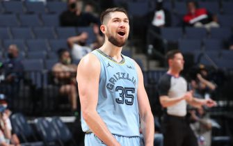 MEMPHIS, TN - MAY 14: Killian Tillie #35 of the Memphis Grizzlies celebrates during the game against the Sacramento Kings on May 14, 2021 at FedExForum in Memphis, Tennessee. NOTE TO USER: User expressly acknowledges and agrees that, by downloading and or using this photograph, User is consenting to the terms and conditions of the Getty Images License Agreement. Mandatory Copyright Notice: Copyright 2021 NBAE (Photo by Joe Murphy/NBAE via Getty Images)
