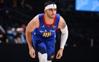 DENVER, CO - MAY 22: Markus Howard #00 of the Denver Nuggets looks on during the game against the Portland Trail Blazers during Round 1, Game 1 of the 2021 NBA playoffs on May 22, 2021 at the Ball Arena in Denver, Colorado. NOTE TO USER: User expressly acknowledges and agrees that, by downloading and/or using this Photograph, user is consenting to the terms and conditions of the Getty Images License Agreement. Mandatory Copyright Notice: Copyright 2021 NBAE (Photo by Bart Young/NBAE via Getty Images)