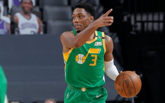 SACRAMENTO, CA - MAY 16: Trent Forrest #3 of the Utah Jazz brings the ball up the court against the Sacramento Kings on May 16, 2021 at Golden 1 Center in Sacramento, California. NOTE TO USER: User expressly acknowledges and agrees that, by downloading and or using this photograph, User is consenting to the terms and conditions of the Getty Images Agreement. Mandatory Copyright Notice: Copyright 2021 NBAE (Photo by Rocky Widner/NBAE via Getty Images)