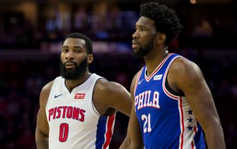 PHILADELPHIA, PA - DECEMBER 10: Andre Drummond #0 of the Detroit Pistons and Joel Embiid #21 of the Philadelphia 76ers look on at the Wells Fargo Center on December 10, 2018 in Philadelphia, Pennsylvania. NOTE TO USER: User expressly acknowledges and agrees that, by downloading and or using this photograph, User is consenting to the terms and conditions of the Getty Images License Agreement. (Photo by Mitchell Leff/Getty Images)
