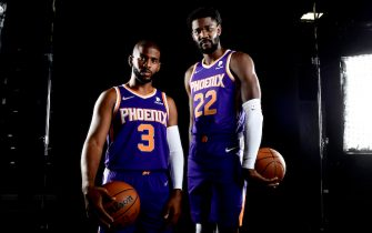 PHOENIX, AZ - SEPTEMBER 27: Chris Paul #3 and Deandre Ayton #22 of the Phoenix Suns pose for a portrait during NBA Media Day on September 27, 2021, at the Footprint Center in Phoenix, Arizona. NOTE TO USER: User expressly acknowledges and agrees that, by downloading and or using this Photograph, user is consenting to the terms and conditions of the Getty Images License Agreement. Mandatory Copyright Notice: Copyright 2021 NBAE (Photo by Barry Gossage/NBAE via Getty Images)