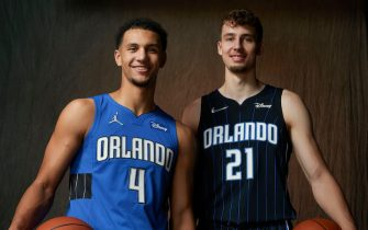 LAS VEGAS, NV - AUGUST 15: Jalen Suggs #4 of the Orlando Magic and Franz Wagner #21 of the Orlando Magic pose for a portrait during 2021 NBA Rookie Photo Shoot  August 15, 2021 at the UNLV Campus in Las Vegas, Nevada. NOTE TO USER: User expressly acknowledges and agrees that, by downloading and/or using this Photograph, user is consenting to the terms and conditions of the Getty Images License Agreement. Mandatory Copyright Notice: Copyright 2021 NBAE (Photo by Michael J. LeBrecht II/NBAE via Getty Images)