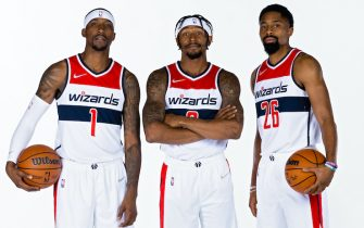 WASHINGTON, DC  - SEPTEMBER 27:  Kentavious Caldwell-Pope #1, Bradley Beal #3 and Spencer Dinwiddie #26 of the Washington Wizards pose for portraits during NBA Media Day on September 27, 2021 at Entertainment and Sports Arena in Washington, DC. NOTE TO USER: User expressly acknowledges and agrees that, by downloading and or using this Photograph, user is consenting to the terms and conditions of the Getty Images License Agreement. Mandatory Copyright Notice: Copyright 2021 NBAE (Photo by Stephen Gosling/NBAE via Getty Images)