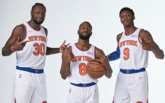 TARRYTOWN, NY  - SEPTEMBER 27: Julius Randle #30, Kemba Walker #8 and RJ Barrett #9 of the New York Knicks poses for portraits during NBA Media Day on September 27, 2021 at the Knicks Practice Facility in Tarrytown, New York. NOTE TO USER: User expressly acknowledges and agrees that, by downloading and or using this Photograph, user is consenting to the terms and conditions of the Getty Images License Agreement. Mandatory Copyright Notice: Copyright 2021 NBAE (Photo by Steven Freeman/NBAE via Getty Images)