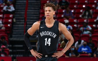 LAS VEGAS, NV - AUGUST 15: Kessler Edwards #14 of the Brooklyn Nets looks on against the San Antonio Spurs during the 2021 Las Vegas Summer League on August 15, 2021 at the Thomas & Mack Center in Las Vegas, Nevada. NOTE TO USER: User expressly acknowledges and agrees that, by downloading and/or using this Photograph, user is consenting to the terms and conditions of the Getty Images License Agreement. Mandatory Copyright Notice: Copyright 2021 NBAE (Photo by Bart Young/NBAE via Getty Images)