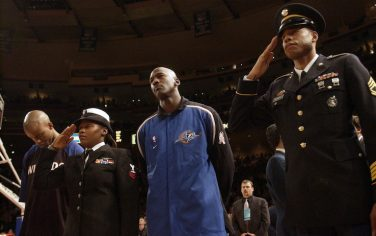 30 Oct 2001:  Michael Jordan #23 of the Washington Wizards during the national anthem before their game against the New York Knicks at Madison Square Garden in New York, NY.  The Knicks won 93-91.  Mandatory Credit: Ezra Shaw/Getty Images Digital Image NOTE TO USER: User expressly acknowledges and agrees that, by downloading and/or using this Photograph, User is consenting to the terms and conditions of the Getty Images License Agreement.