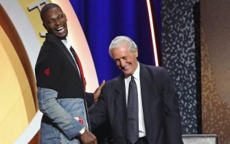 SPRINGFIELD, MA - SEPTEMBER 11: Chris Bosh smiles and shakes hands with Pat Riley during the 2021 Basketball Hall of Fame Enshrinement Ceremony on September 11, 2021 at MassMutual in Springfield, Massachusetts. NOTE TO USER: User expressly acknowledges and agrees that, by downloading and/or using this photograph, user is consenting to the terms and conditions of the Getty Images License Agreement. Mandatory Copyright Notice: Copyright 2021 NBAE (Photo by Nathaniel S. Butler/NBAE via Getty Images)