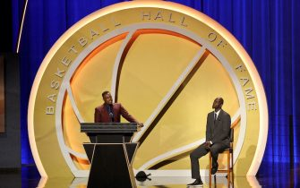 SPRINGFIELD, MASSACHUSETTS - SEPTEMBER 11: Paul Pierce, presented by Kevin Garnett speaks during the 2021Naismith Memorial  Basketball Hall of Fame ceremony at Symphony Hall on September 11, 2021 in Springfield, Massachusetts. (Photo by Maddie Meyer/Getty Images)