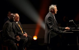 SPRINGFIELD, MASSACHUSETTS - SEPTEMBER 11: Toni Kukoc speaks during the 2021Naismith Memorial  Basketball Hall of Fame ceremony presented by Michael Jordan and Jerry Reinsdorf at Symphony Hall on September 11, 2021 in Springfield, Massachusetts. (Photo by Maddie Meyer/Getty Images)