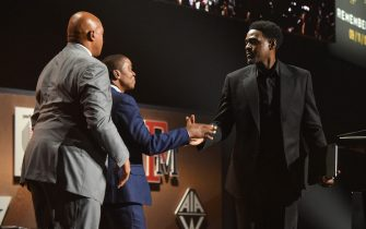 SPRINGFIELD, MA - SEPTEMBER 11: Isiah Thomas  shakes hands with Chris Webber during the 2021 Basketball Hall of Fame Enshrinement Ceremony on September 11, 2021 at MassMutual in Springfield, Massachusetts. NOTE TO USER: User expressly acknowledges and agrees that, by downloading and/or using this photograph, user is consenting to the terms and conditions of the Getty Images License Agreement. Mandatory Copyright Notice: Copyright 2021 NBAE (Photo by Brian Babineau/NBAE via Getty Images)