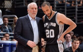 LOS ANGELES, CA - APRIL 28:  Head Coach Gregg Popovich of the San Antonio Spurs talks to Manu Ginobili #20 of the San Antonio Spurs against the Los Angeles Clippers in Game Five of the Western Conference Quarterfinals during the 2015 NBA Playoffs on April 28, 2015 at Staples Center in Los Angeles, California. NOTE TO USER: User expressly acknowledges and agrees that, by downloading and or using this Photograph, user is consenting to the terms and conditions of the Getty Images License Agreement. Mandatory Copyright Notice: Copyright 2015 NBAE (Photo by Andrew D. Bernstein/NBAE via Getty Images)