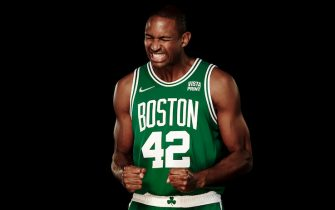 CANTON, MASSACHUSETTS - SEPTEMBER 27:  Al Horford #42 of the Boston Celtics poses for a photo during Media Day at High Output Studios on September 27, 2021 in Canton, Massachusetts. NOTE TO USER: User expressly acknowledges and agrees that, by downloading and or using this photograph, User is consenting to the terms and conditions of the Getty Images License Agreement. (Photo by Omar Rawlings/Getty Images)