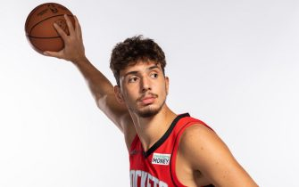 HOUSTON, TEXAS - SEPTEMBER 27: Alpern Sengun #28 of the Houston Rockets poses for a portrait during Houston Rockets Media Day at Post Oak Hotel on September 27, 2021 in Houston, Texas. (Photo by Michael Starghill/Getty Images)