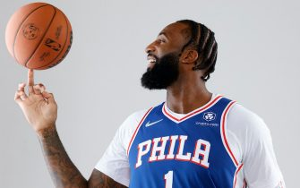 CAMDEN, NEW JERSEY - SEPTEMBER 27: Andre Drummond #1 of the Philadelphia 76ers stands for a portrait during Philadelphia 76ers Media Day held at Philadelphia 76ers Training Complex on September 27, 2021 in Camden, New Jersey. (Photo by Tim Nwachukwu/Getty Images)