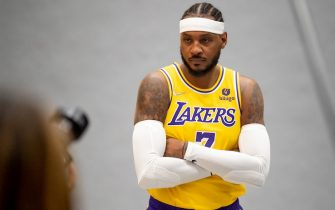 El Sugundo, CA - September 28:Lakers Carmelo Anthony at Lakers media day Tuesday, September 28, 2021.   (Photo by David Crane/MediaNews Group/Los Angeles Daily News via Getty Images)