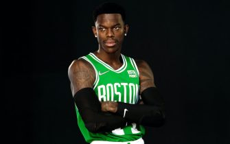 CANTON, MASSACHUSETTS - SEPTEMBER 27: Dennis Schroder #71 of the Boston Celtics poses for a photo during Media Day at High Output Studios on September 27, 2021 in Canton, Massachusetts. NOTE TO USER: User expressly acknowledges and agrees that, by downloading and or using this photograph, User is consenting to the terms and conditions of the Getty Images License Agreement. (Photo by Omar Rawlings/Getty Images)