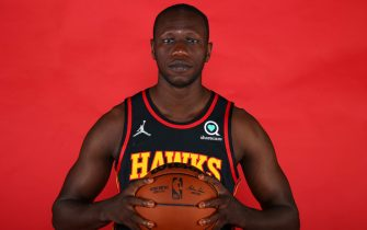 ATLANTA, GA - SEPTEMBER 27: Gorgui Dieng #10 of the Atlanta Hawks poses for a portrait during media day at PC&E Atlanta on September 27, 2021 in Atlanta, Georgia. (Photo by Todd Kirkland/Getty Images) *** Local Caption ***  Gorgui Dieng