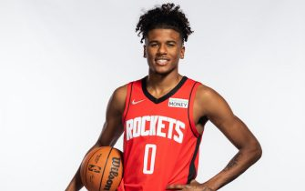 HOUSTON, TEXAS - SEPTEMBER 27: Jalen Green #0 of the Houston Rockets poses for a portrait during Houston Rockets Media Day at Post Oak Hotel on September 27, 2021 in Houston, Texas. (Photo by Michael Starghill/Getty Images)