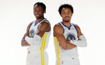 SAN FRANCISCO - SEPTEMBER 27:  Jonathan Kuminga and Moses Moody have their portrait made as the Golden State Warriors held their media day for the 2021-22 season at Chase Center in San Francisco, Calif., on Monday, September 27, 2021. (Carlos Avila Gonzalez/San Francisco Chronicle via Getty Images)