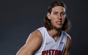 DETROIT, MICHIGAN - SEPTEMBER 27:  Kelly Olynyk #13 of the Detroit Pistons poses for a photo during media day at Little Caesars Arena on September 27, 2021 in Detroit, Michigan. NOTE TO USER: User expressly acknowledges and agrees that, by downloading and or using this photograph, User is consenting to the terms and conditions of the Getty Images License Agreement. (Photo by Rick Osentoski/Getty Images)