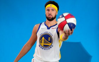 SAN FRANCISCO - SEPTEMBER 27:  Klay Thompson has his portrait made as the Golden State Warriors held their media day for the 2021-22 season at Chase Center in San Francisco, Calif., on Monday, September 27, 2021. (Carlos Avila Gonzalez/San Francisco Chronicle via Getty Images)
