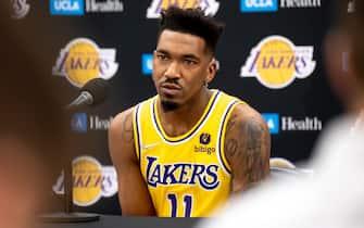 El Sugundo, CA - September 28:Lakers Malik Monk at Lakers media day Tuesday, September 28, 2021.   (Photo by David Crane/MediaNews Group/Los Angeles Daily News via Getty Images)