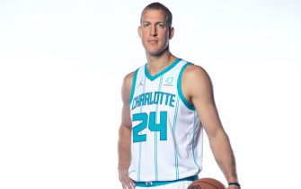 CHARLOTTE, NORTH CAROLINA - SEPTEMBER 27: Mason Plumlee #24 of the Charlotte Hornets poses for a portrait during Media Day at Spectrum Center on September 27, 2021 in Charlotte, North Carolina. NOTE TO USER: User expressly acknowledges and agrees that, by downloading and or using this photograph, User is consenting to the terms and conditions of the Getty Images License Agreement. (Photo by Jared C. Tilton/Getty Images)