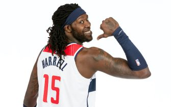 WASHINGTON, DC -  AUGUST 6: Montrezl Harrell #15 of the Washington Wizards poses for a portrait on August 6, 2021 at Capital One Arena in Washington, DC. NOTE TO USER: User expressly acknowledges and agrees that, by downloading and or using this Photograph, user is consenting to the terms and conditions of the Getty Images License Agreement. Mandatory Copyright Notice: Copyright 2021 NBAE (Photo by Avi Gerver/NBAE via Getty Images)