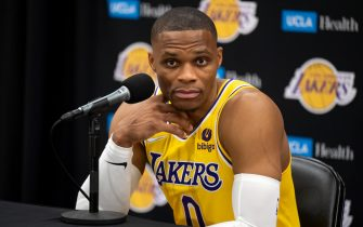El Sugundo, CA - September 28:Lakers Russell Westbrook at Lakers media day Tuesday, September 28, 2021.   (Photo by David Crane/MediaNews Group/Los Angeles Daily News via Getty Images)