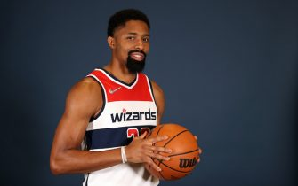 WASHINGTON, DC - SEPTEMBER 27: Spencer Dinwiddie #26 of the Washington Wizards poses during media day at Entertainment & Sports Arena on September 27, 2021 in Washington, DC.  NOTE TO USER: User expressly acknowledges and agrees that, by downloading and or using this photograph, User is consenting to the terms and conditions of the Getty Images License Agreement. (Photo by Rob Carr/Getty Images)