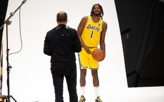 El Sugundo, CA - September 28:Lakers Trevor Ariza at Lakers media day Tuesday, September 28, 2021.   (Photo by David Crane/MediaNews Group/Los Angeles Daily News via Getty Images)