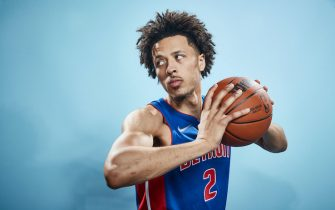 LAS VEGAS, NV - AUGUST 15: Cade Cunningham #2 of the Detroit Pistons poses for a portrait during 2021 NBA Rookie Photo Shoot on August 15, 2021 at UNLV Campus in Las Vegas, Nevada. NOTE TO USER: User expressly acknowledges and agrees that, by downloading and/or using this Photograph, user is consenting to the terms and conditions of the Getty Images License Agreement. Mandatory Copyright Notice: Copyright 2021 NBAE (Photo by Michael J. LeBrecht II/NBAE via Getty Images)