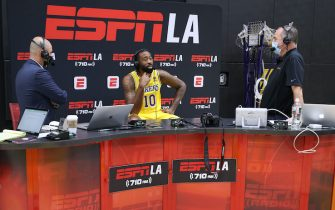 EL SEGUNDO, CALIFORNIA - SEPTEMBER 28: DeAndre Jordan #10 of the Los Angeles Lakers on set in an interview during Los Angeles Lakers media day at UCLA Health Training Center on September 28, 2021 in El Segundo, California. (Photo by Harry How/Getty Images)