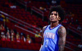 HOUSTON, TX - MAY 1: Kevin Porter Jr. #3 of the Houston Rockets looks on during the game against the Golden State Warriors on May 1, 2021 at the Toyota Center in Houston, Texas. NOTE TO USER: User expressly acknowledges and agrees that, by downloading and or using this photograph, User is consenting to the terms and conditions of the Getty Images License Agreement. Mandatory Copyright Notice: Copyright 2021 NBAE (Photo by Cato Cataldo/NBAE via Getty Images)