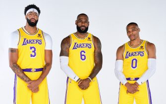 EL SEGUNDO, CA - SEPTEMBER 28: Anthony Davis #3, LeBron James #6 and Russell Westbrook #0 of the Los Angeles Lakers poses for a portrait during NBA Media day at UCLA Health Training Center on September 28, 2021 in El Segundo, California. NOTE TO USER: User expressly acknowledges and agrees that, by downloading and/or using this Photograph, user is consenting to the terms and conditions of the Getty Images License Agreement. Mandatory Copyright Notice: Copyright 2021 NBAE (Photo by Adam Pantozzi/NBAE via Getty Images)