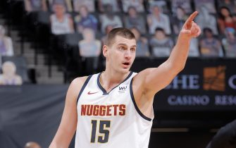 SACRAMENTO, CA - FEBRUARY 6: Nikola Jokic #15 of the Denver Nuggets looks on during the game against the Sacramento Kings on February 6, 2021 at Golden 1 Center in Sacramento, California. NOTE TO USER: User expressly acknowledges and agrees that, by downloading and or using this Photograph, user is consenting to the terms and conditions of the Getty Images License Agreement. Mandatory Copyright Notice: Copyright 2021 NBAE (Photo by Rocky Widner/NBAE via Getty Images)