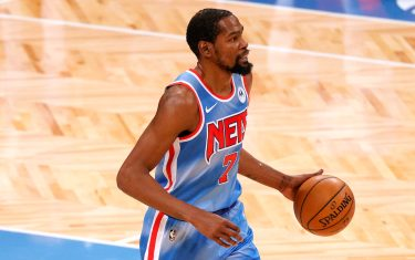 NEW YORK, NEW YORK - JANUARY 16: Kevin Durant #7 of the Brooklyn Nets dribbles during the first half against the Orlando Magic at Barclays Center on January 16, 2021 in the Brooklyn borough of New York City. NOTE TO USER: User expressly acknowledges and agrees that, by downloading and or using this Photograph, user is consenting to the terms and conditions of the Getty Images License Agreement. (Photo by Sarah Stier/Getty Images)