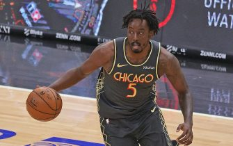 CHICAGO, ILLINOIS - APRIL 30: Al-Farouq Aminu #5 of the Chicago Bulls brings the ball up the court against the Milwaukee Bucks at the United Center on April 30, 2021 in Chicago, Illinois. The Bucks defeated the Bulls 108-98. NOTE TO USER: User expressly acknowledges and agrees that, by downloading and or using this photograph, User is consenting to the terms and conditions of the Getty Images License Agreement. (Photo by Jonathan Daniel/Getty Images)