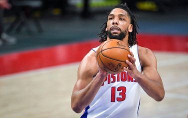 DETROIT, MICHIGAN - MAY 06: Jahlil Okafor #13 of the Detroit Pistons shoots a free throw against the Memphis Grizzlies during the second quarter of the NBA game at Little Caesars Arena on May 06, 2021 in Detroit, Michigan. NOTE TO USER: User expressly acknowledges and agrees that, by downloading and or using this photograph, User is consenting to the terms and conditions of the Getty Images License Agreement. (Photo by Nic Antaya/Getty Images)
