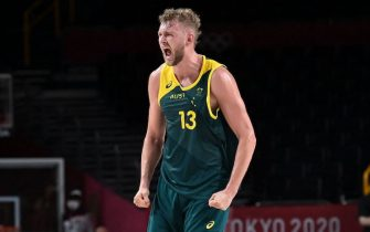 Australia's Jock Landale reacts during the men's preliminary round group B basketball match between Italy and Australia of the Tokyo 2020 Olympic Games at the Saitama Super Arena in Saitama on July 28, 2021. (Photo by Aris MESSINIS / AFP) (Photo by ARIS MESSINIS/AFP via Getty Images)