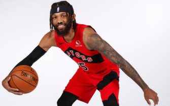 TAMPA BAY, FL - DECEMBER 7: DeAndre' Bembry #95 of the Toronto Raptors poses for a portrait during NBA content day on December 7, 2020 at the Amalie Arena in Tampa Bay, Florida. NOTE TO USER: User expressly acknowledges and agrees that, by downloading and/or using this photograph, user is consenting to the terms and conditions of the Getty Images License Agreement. Mandatory Copyright Notice: Copyright 2020 NBAE (Photo by Scott Audette/NBAE via Getty Images)