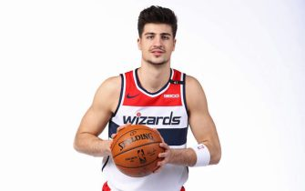 WASHINGTON, DC - DECEMBER 7: Deni Avdija #9 of the Washington Wizards poses for a portrait during NBA Content Day on December 7, 2020 in Washington, DC at Capital One Arena. NOTE TO USER: User expressly acknowledges and agrees that, by downloading and or using this photograph, User is consenting to the terms and conditions of the Getty Images License Agreement. (Photo by Ned Dishman/NBAE via Getty Images)
