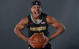 MEMPHIS, TN - DECEMBER 6:  Desmond Bane #22 of the Memphis Grizzlies poses for a portrait during Memphis Grizzlies Content Day on December 6, 2020 at FedExForum in Memphis, Tennessee.  NOTE TO USER: User expressly acknowledges and agrees that, by downloading and or using this photograph, User is consenting to the terms and conditions of the Getty Images License Agreement. Mandatory Copyright Notice: Copyright 2020 NBAE (Photo by Joe Murphy/NBAE via Getty Images)