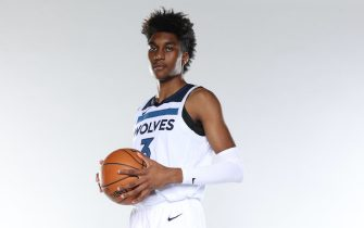 MINNEAPOLIS, MN - DECEMBER 9: Jaden McDaniels #3 of the Minnesota Timberwolves poses for a portrait during 2020 NBA Content Day on December 9, 2020 at Target Center in Minneapolis, Minnesota.  NOTE TO USER:  User expressly acknowledges and agrees that, by downloading and or using this Photograph, user is consenting to the terms and conditions of the Getty Images License Agreement. Mandatory Copyright Notice: Copyright 2020 NBAE (Photo by David Sherman/NBAE via Getty Images)