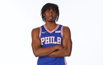 CAMDEN, NJ - DECEMBER 10: Tyrese Maxey #0 of the Philadelphia 76ers poses for a portrait during NBA Content Day at the 76ers Training Facility on December 9, 2020 in Camden, New Jersey. NOTE TO USER: User expressly acknowledges and agrees that, by downloading and or using this photograph, User is consenting to the terms and conditions of the Getty Images License Agreement. Mandatory Copyright Notice: Copyright 2020 NBAE (Photo by Jesse D. Garrabrant/NBAE via Getty Images)