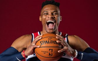WASHINGTON, DC - DECEMBER 7: Russell Westbrook #0 of the Washington Wizards poses for a portrait during NBA Content Day on December 7, 2020 in Washington, DC at Capital One Arena. NOTE TO USER: User expressly acknowledges and agrees that, by downloading and or using this photograph, User is consenting to the terms and conditions of the Getty Images License Agreement. (Photo by Stephen Gosling/NBAE via Getty Images)