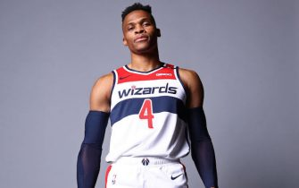 WASHINGTON, DC - DECEMBER 7: Russell Westbrook #0 of the Washington Wizards poses for a portrait during NBA Content Day on December 7, 2020 in Washington, DC at Capital One Arena. NOTE TO USER: User expressly acknowledges and agrees that, by downloading and or using this photograph, User is consenting to the terms and conditions of the Getty Images License Agreement. (Photo by Ned Dishman/NBAE via Getty Images)