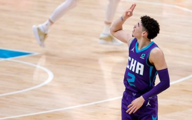 CHARLOTTE, NORTH CAROLINA - JANUARY 09: LaMelo Ball #2 of the Charlotte Hornets reacts following a three point basket during the second quarter of their game against the Atlanta Hawks at Spectrum Center on January 09, 2021 in Charlotte, North Carolina. NOTE TO USER: User expressly acknowledges and agrees that, by downloading and or using this photograph, User is consenting to the terms and conditions of the Getty Images License Agreement. (Photo by Jared C. Tilton/Getty Images)